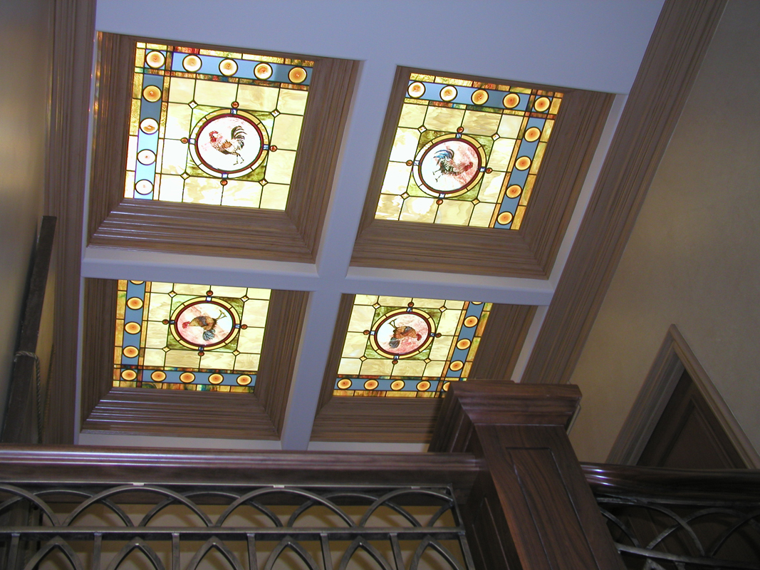 Custom Interior Hand-painted Rooster Stained Glass Skylights | Sheri Law Art Glass Homer Glen, IL