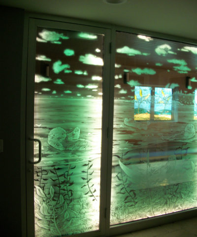 Interior Sandblasted Pool Glass | Sheri Law Art Glass Homer Glen, IL