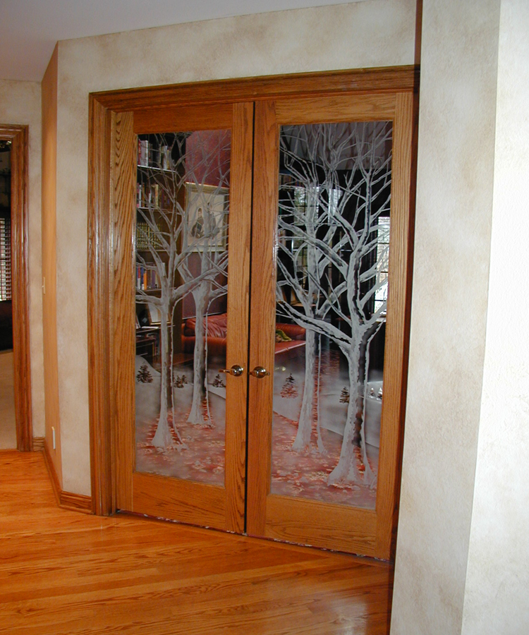 Interior Etched Glass with Trees on Door | Sheri Law Art Glass Homer Glen, IL