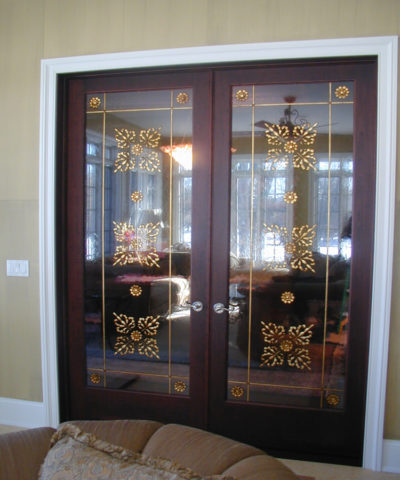 Sheri Law Gold Leaf Patina Design on Interior Doors | Chicago, Illinois