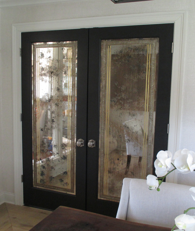 Custom Carved and Leafed Antique Mirror Double Doors | Sheri Law Art Glass Homer Glen, IL