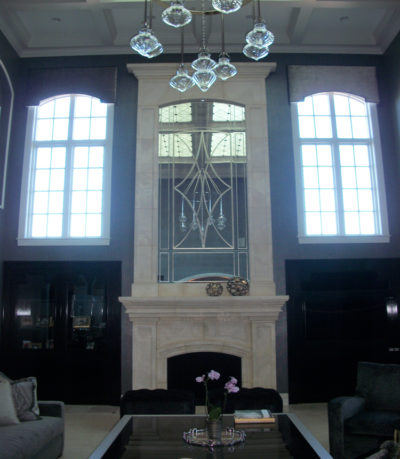 Custom Created Antique Mirror Fireplace Art | Sheri Law Art Glass Homer Glen, IL