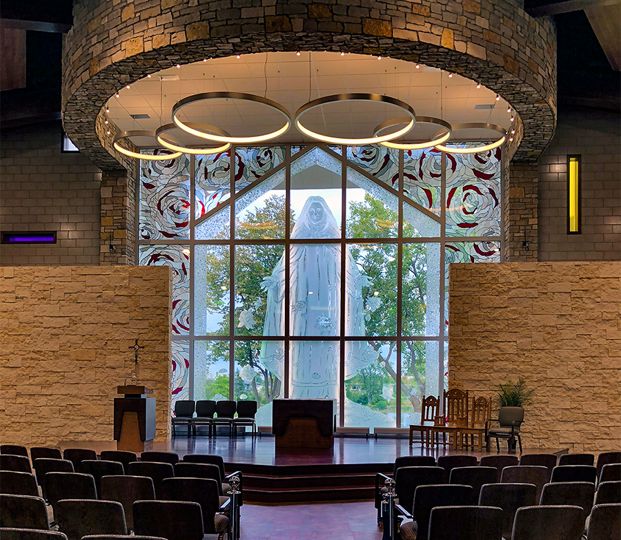 Commerical art glass project for ST. Therese shrine