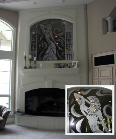Custom Etched Erte on Black Mirror over Fireplace | Sheri Law Art Glass Homer Glen, IL