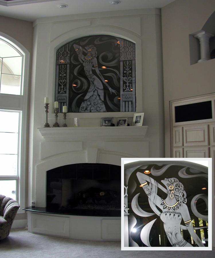 Custom Etched Erte on Black Mirror over Fireplace | Sheri Law Art Glass Homer Glen, IL