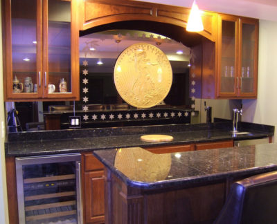 Custom Carved Gold Leafed Bar Backsplash Mirror | Sheri Law Art Glass Homer Glen, IL