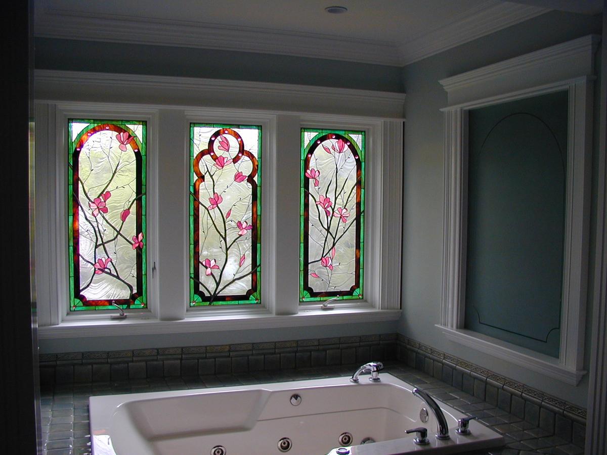 Stained Glass Magniola Bathroom Window | Sheri Law Art Glass
