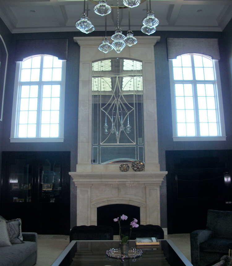 Custom Created Antique Mirror Fireplace Art | Sheri Law Art Glass Homer Glen, IL