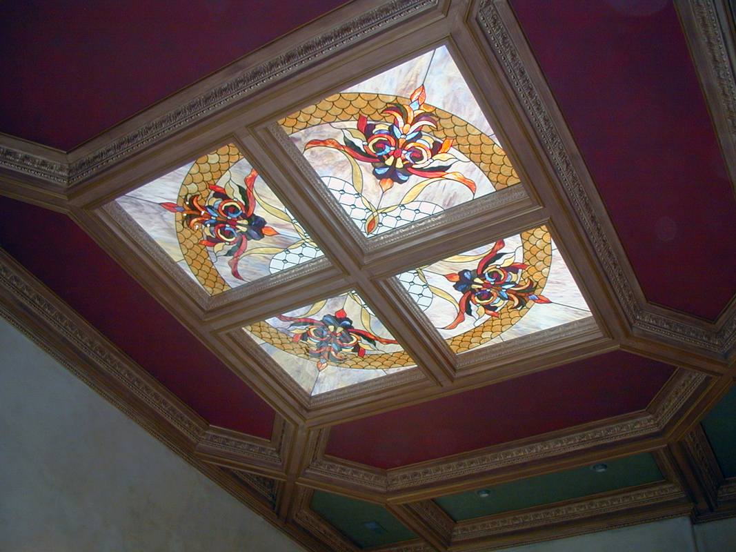 Custom Art Glass with Four Square Stained Glass Skylights| Sheri Law Art Glass Homer Glen, IL