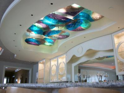 Hanging Backlit Fused Glass Above Bar   Sheri Law Art Glass Homer Glen, IL