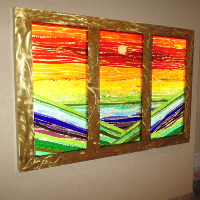 Fused and Backlit Glass on Custom Brass Frame