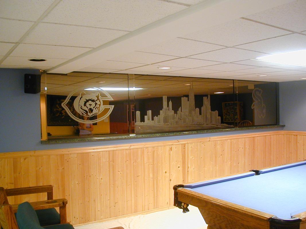 Interior Sandblasted Bronze Mirror | Sheri Law Art Glass Homer Glen, IL